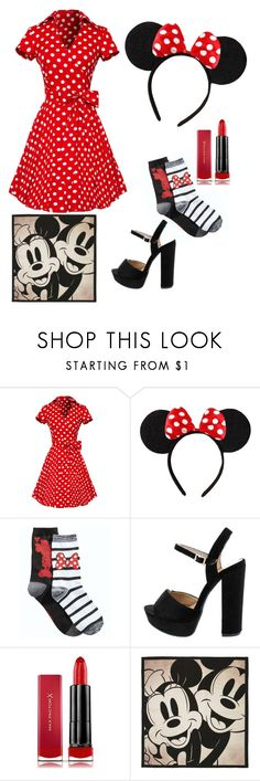 """Last minute minnie mouse costume"" by simplyjustlexi ❤ liked on Polyvore featuring Disney and Max Factor"