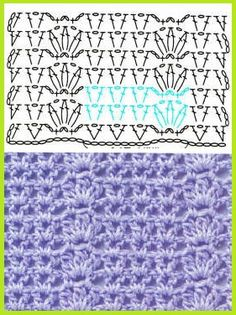 Spaced Shell crochet stitch chart