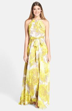 Beaded Print Chiffon Maxi Dress