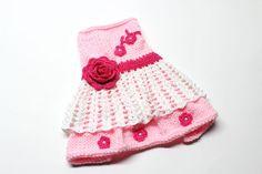 Pink Hand Knit Dog Dress por MaxMilian en Etsy