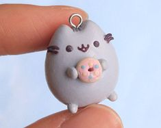 Pusheen with Donut Polymer Clay Charm Necklace Pendant