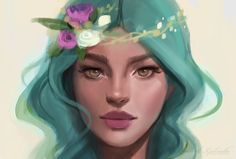 Here is a cropped work in progress.. I may finish her I'm having fun exploring these colors! The process photos and brush pack for this one will be onpatreon at the end of the month. : ) Than...