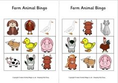 Farm Animal Bingo Cards