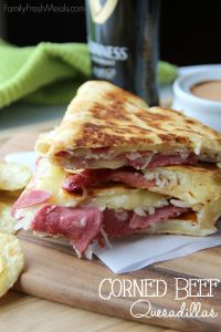 These Corned Beef and Cabbage Quesadillas are the perfect way to use up any corned beef leftover you have from your big St. Patrick's day feast. YUMMY!