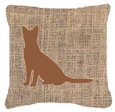 Cat Burlap Indoor/Outdoor Throw Pillow