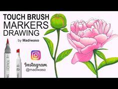 Как нарисовать пион маркерами Touch Brush / How to draw peony with markers Touch Brush - YouTube