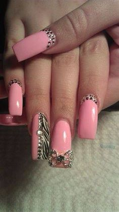 Pink and bling nails...long...