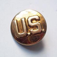 "Vintage World War II Era Brass U.S. Army Uniform Collar Pin - Round Brass Military Pin w/ ""U.S."" Embossed Letters - 1940s Soldier's Pin"