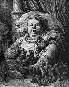 Garganúa y Pantagruel. Ilustración de Gustave Doré
