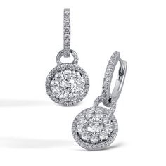 Simon G. 18 Karat White Gold Halo Drop Diamond Earrings With 1.52 Carats Total Diamonds. Free shipping. Online Pricing. Style LP4228