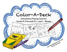 Articulation Playing Cards for R & L.  NO color ink, almost NO prep for speech therapy.