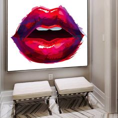 Luscious Lips Canvas Print Pop Art Red Wall Decor Large