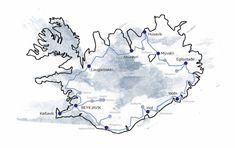 Island Reiseplanung Karte - Route und Sehenswürdigkeiten