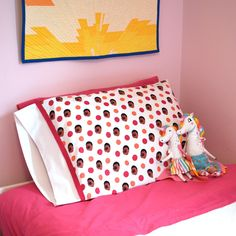 Pillowcases make fun gifts, and you can stitch this Speedy Pillowcase in less than a half hour! Find the full step-by-step tutorial at #WeAllSew. #pillow #case #pillowcase #free #tutorial