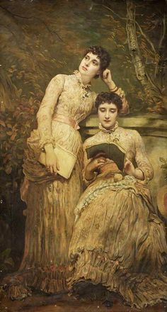 Ida and Ethel, Twin daughters of J. Searlight, James Sant (reading)