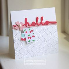 Hello 3x3 card - Greetings Thinlet and Washi punch.