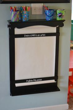 What a great idea for those who do not have floor space for an easel for their little artists!