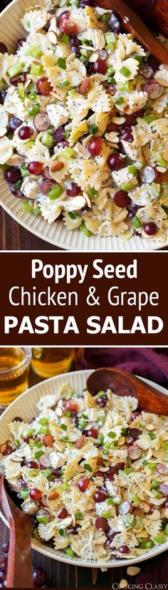 Poppy Seed Pasta Salad – with this recipe you get tender bowtie pasta, hearty pieces of chicken, sweet grapes, crisp celery and crunchy almonds all coated with an irresistible creamy poppy seed dressing. via Jaclyn {Cooking Classy} Cooking Recipes, Healthy Recipes, New Recipes, Recipies, Cooking Tips, Bariatric Recipes, Cooking Videos, Mexican Recipes, Family Recipes