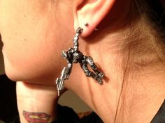Halo Master Chief Pewter Earring. $30.00, via Etsy. You even get to choose which weapon he's holding! Mag please!