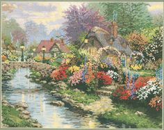 Thomas Kinkade Lamplight Bridge - Cross Stitch Kit