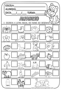 A Arte de Ensinar e Aprender: Atividade pronta: Letra inicial