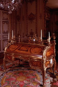 Louis XIV's Desk at Versailles Palace. The palace was built over a period of 60 years by some 36,000 men