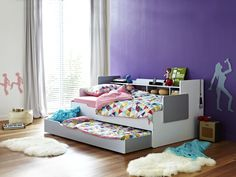 Phoenix Bed with Trundle and Bookshelf | Bunk Beds | Kids Bedroom - Snooze