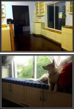 Window Bench using upper cabinets as the base and a cushion on top