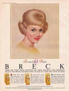Breck Shampoo and a Breck Girl ad from Breck Shampoo is an American brand of shampoo that is also known for its Breck Girls advertising campaign. Retro Advertising, Vintage Advertisements, Vintage Ads, Vintage Prints, Retro Ads, Advertising Campaign, Vintage Patterns, Breck Shampoo, Best Shampoos