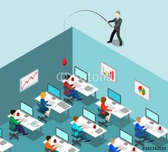 Vector: Head hunting HR fishing office business flat isometric vector 3d
