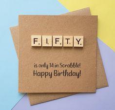 50th birthday card Fiftieth Scrabble card Handmade Fifty | Etsy 50th Birthday Cards, Birthday Book, Special Birthday, Handmade Birthday Cards, Greeting Cards Handmade, Scrabble Cards, Scrabble Tiles, Funny Cards, Cute Cards