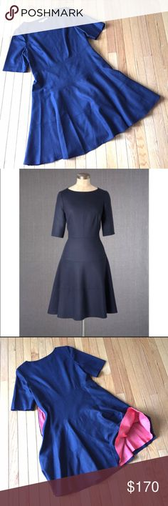 """Boden wool skater dress Sz 12 Navy blue wool with a touch of stretch and side zipper. Pop of color in the lining. Flirty and flattering shape. UK size 16 is a US 12. Length approx. 39"""" bust across pit to pit 19"""". Boden Dresses"""