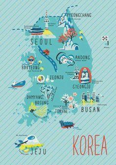 Illustrated map of Korea. Korean Words Learning, Korean Language Learning, Republik Korea, Korea Map, Korean Phrases, Korean Lessons, South Korea Travel, South Korea Seoul, South Korea Culture