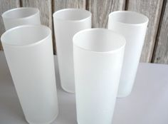 Vintage set of 5 white frosted glasses by Libbey by LindasCupboard, $21.00