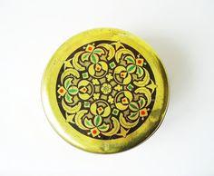 Rare tin box Vintage Bulgarian design Old golden by MerilinsRetro, $38.00
