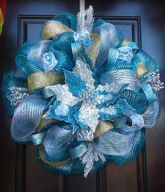 winter mesh wreaths | Winter Wreath with Poinsettia - Deco Mesh- Winter Wreath - Teal ...