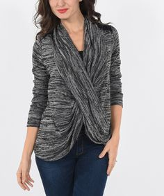 This Charcoal Cross-Over Sweater by  is perfect! #zulilyfinds