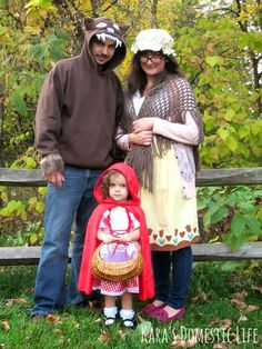 Little Red Riding Hood, Grandma, Big Bad Wolf - family costume, little girl costume