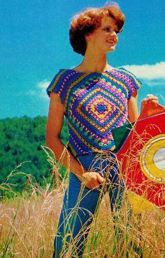 DIY Granny Square Top PDF Vintage Crochet Pattern