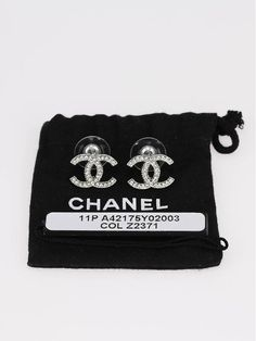Chanel Silver Swarovski Crystal Cc Logo Earrings