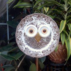 Whooo Owl Hoot Glass Plate Flower repurposed garden art on Etsy, $42.00