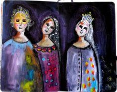 couleurs et mixed media: Art-journal - semaine 13 - mes princesses