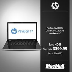 Save 40% on an #HP Pavilion 2.1GHz quad core notebook with 8GB RAM at MacMall. #DailyDeal