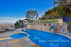 Hollywood Hills Villa above Sunset Strip! Pool, Hot Tub, Firepit, and Wow! home boasts panoramic views, gorgeous wood-. Hollywood Hills, Hollywood Hotel, Pool Sand, Villas In Italy, Best Hotel In World, Luxury Estate, Luxury Homes, Pool Landscaping, Pool Houses