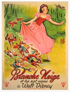 French poster for Walt Disney's 'Snow White and the Seven Dwarfs', 1937.  Perfect decoration for baby girls room.