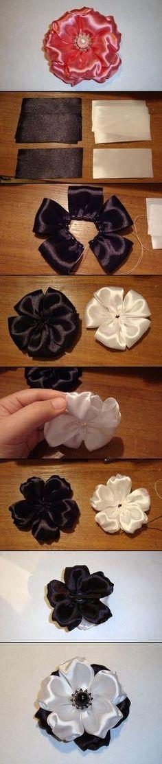 Ribbon Flowers, for headband. Ribbon Art, Fabric Ribbon, Ribbon Crafts, Flower Crafts, Ribbon Bows, Fabric Crafts, Sewing Crafts, Satin Ribbons, Tulle Fabric
