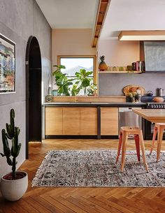 Wooden kitchen in a colourful Australian home