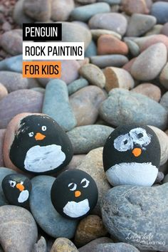 We love rock painting with kids! There are so many ideas to pick from! Since it is Winter, we are excited about animals that live in cold weather. In this post, we will share some fun penguin rock painting for kids to make. They will spruce up your garden, front porch or playroom. #winter #penguins #rockpainting #kidscrafts