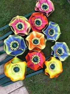 Vinyl record flowers for garden