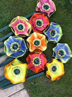Vinyl record flowers for garden